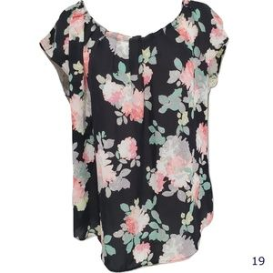 LC Lauren Conrad Black Floral Back Tie Blouse